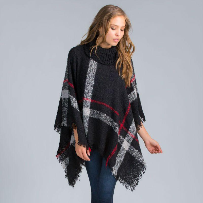 11th,Nov Plus Size Women's Wool Plaid Cardigan Turtleneck Cape Batwing Sleeve Knit Poncho Sweater Female Tassel Scarf