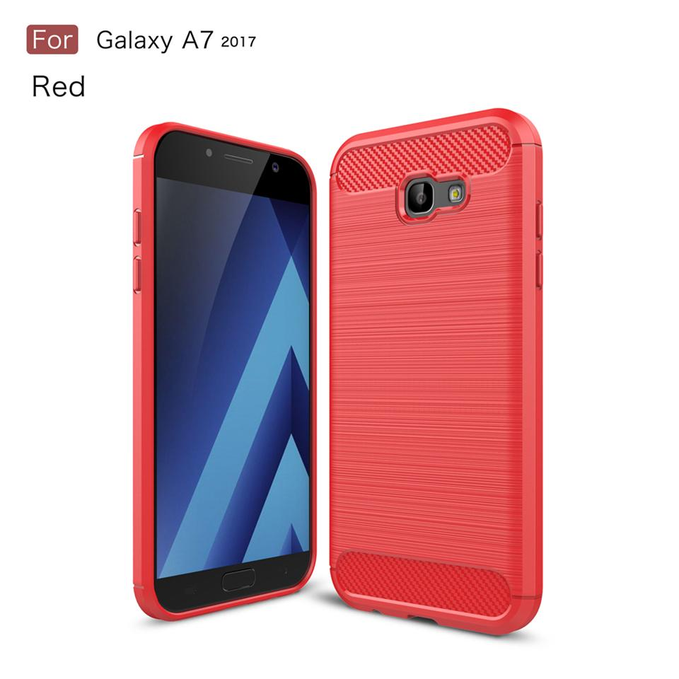 For samsung galaxy A7 2017 brushed design shockproof armor carbon fiber tpu phone case for samsung galaxy A7 2017 case