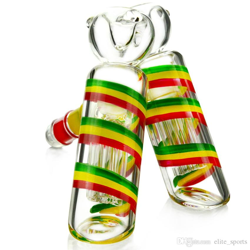 Colorful EDC Glass Hand Pipe Mini Hand Glass Bong Heady Glass Water Pipe Features 6 Arms Tree Perc WP516