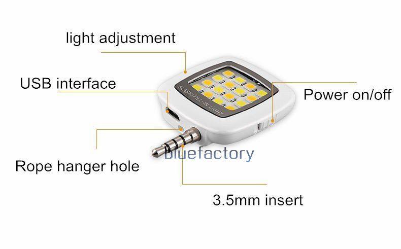 Novo Mini 16 Leds Lâmpada LED Flash de Luz Selfie Dimmable Flash Fill-in Bolso Luz Holofotes Portátil para Smartphone Câmera Universal