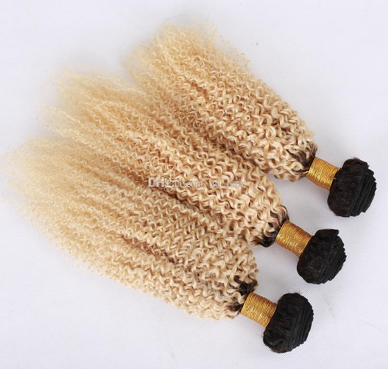 Raiz Escura Kinky Curly Virgem Virgem Tece com laço frontal ombre loira # 1b 613 afro encaracolado pacotes de cabelo com fechamento frontal 13x4