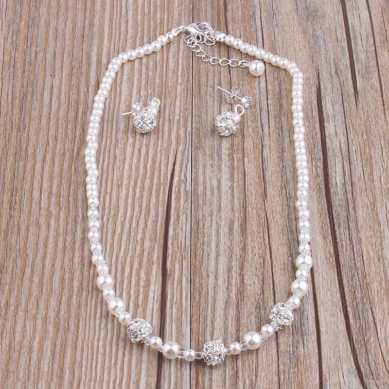 Miallo الأزياء تقليد الأبيض اللؤلؤ الطبيعي مجموعات المجوهرات حجر الراين الكرة قلادة أقراط سوار مجموعات مجوهرات للنساء