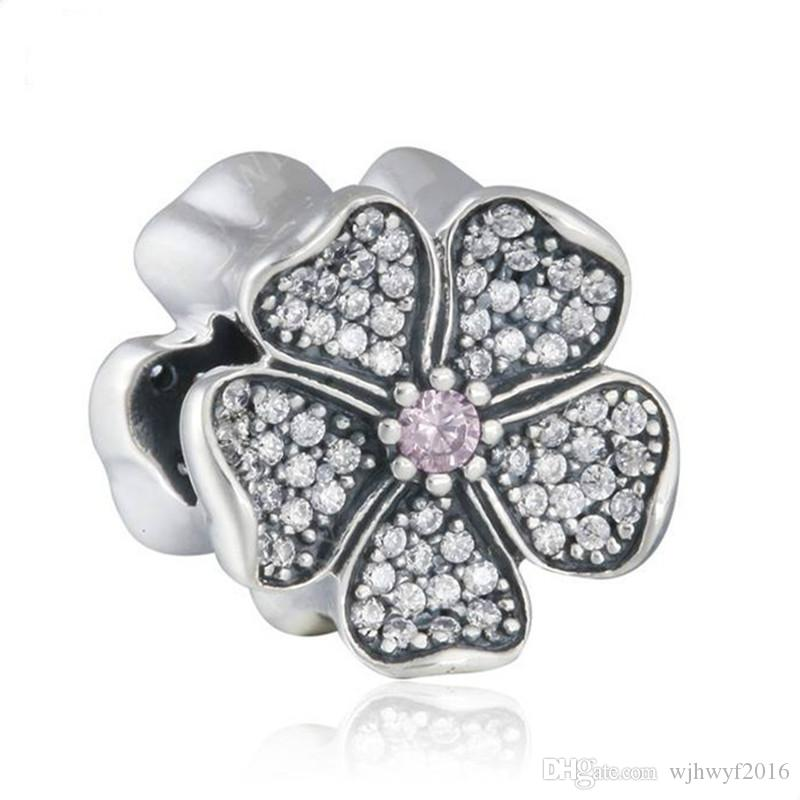 Apple Blossom Charms Beads Authentic 925 Sterling-Silver-Jewelry Crystal Flower Bead DIY Brand Summer Charm Bracelets Accessories