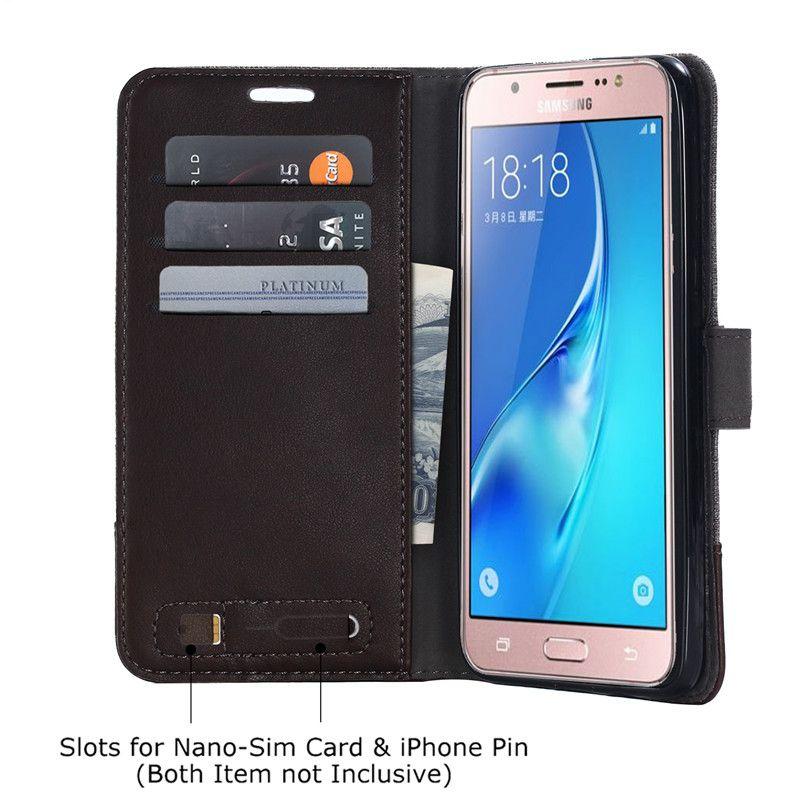 Luxe Stand Vertical Étui À Rabat Folio Pour Samsung Galaxy J3 J5 2016 Étui Conception Étui portefeuille Flip Couverture En Cuir PU
