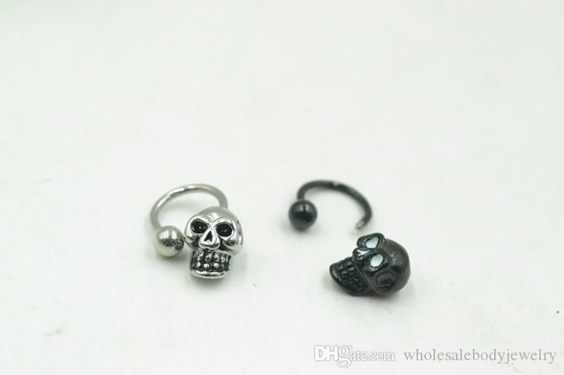 16G~1.2mm PUNK Skull Head Horseshoes Ball Nose/Ear/Lip/Nipple ring Mulit Use Ring body piercing jewelry CBR New 16g~1.2