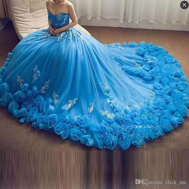 Ice Blue Ball Gown Prom Dresses Long Handmade Flowers Lace Appliques ...