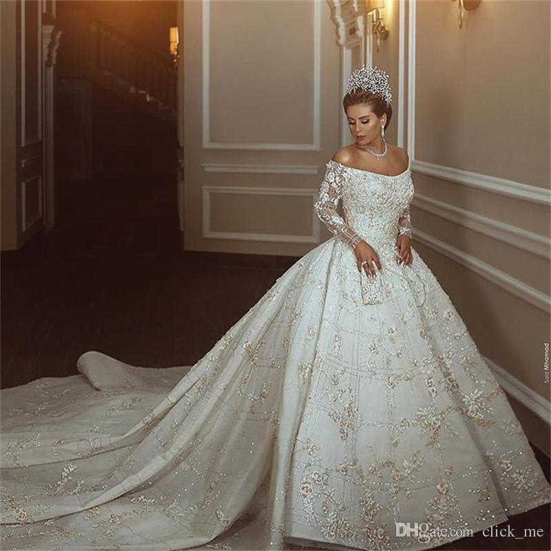 Drop Sleeve Wedding Gowns With: Gorgeous Lace Ball Gown Wedding Dresses Cathedral Train 3D