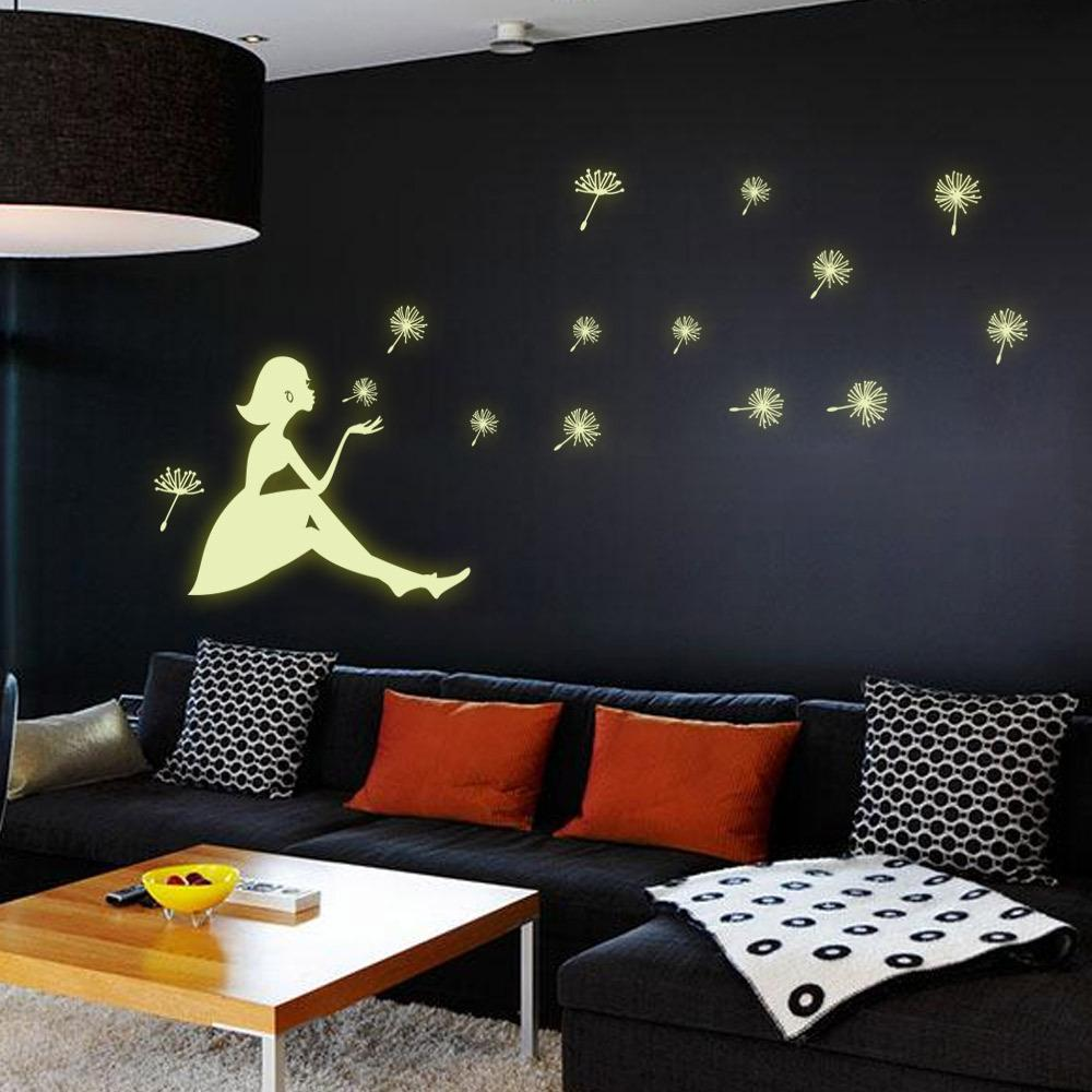Y0031 Night Glow in the Dark Luminous Fluorescent Wall Stickers Blow the Dandelion Girl Children Bedroom Background