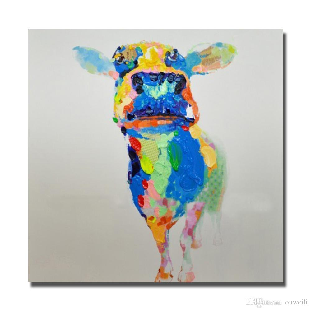 Newest design decorative cartoon cow wall pictures funny animal oil paintings for living room wall decor