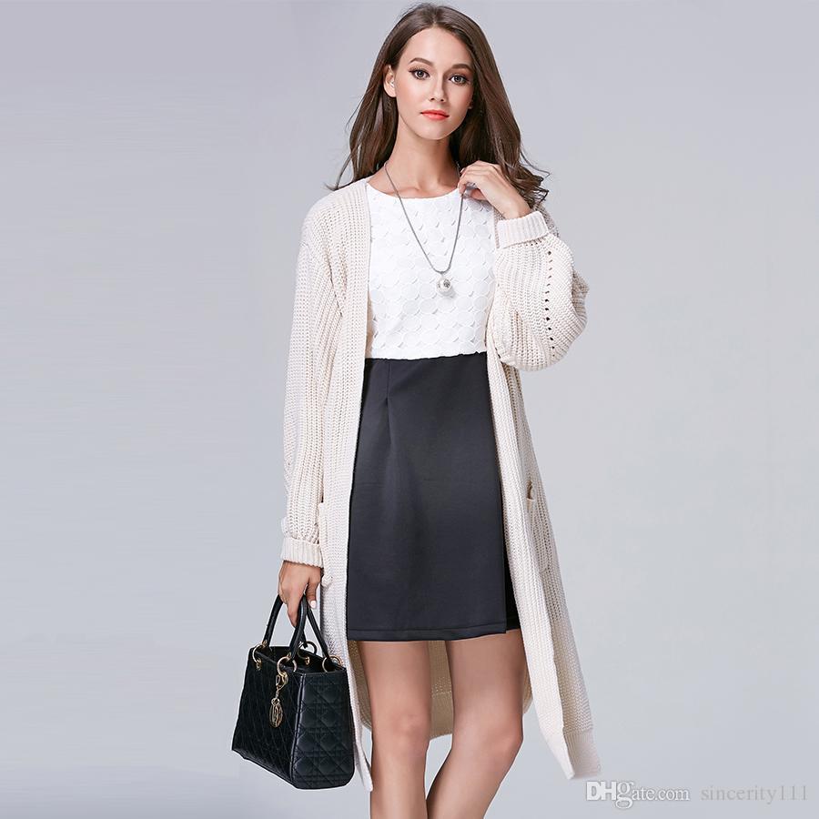 2017 Off White Shirt Pocket Women Long Cardigan Cashmere Oversized ...