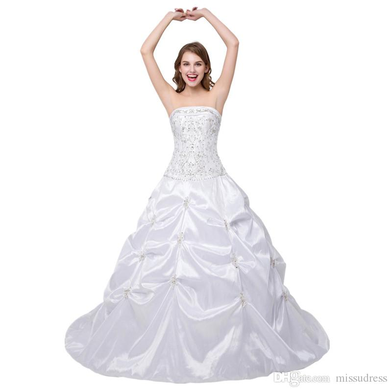 In Stock Boat Neck Wedding Dress Embroidered Ball Gown Wedding Gown ...