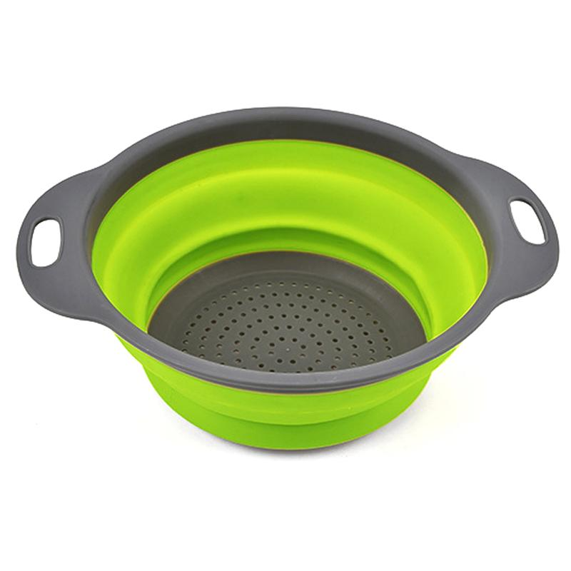 2 Sizes Collapsible Silicone Colander Set Drainage Baskets Foldable Vegetable/Fruit Basket Set Silicone Strainer Kitchen Tools