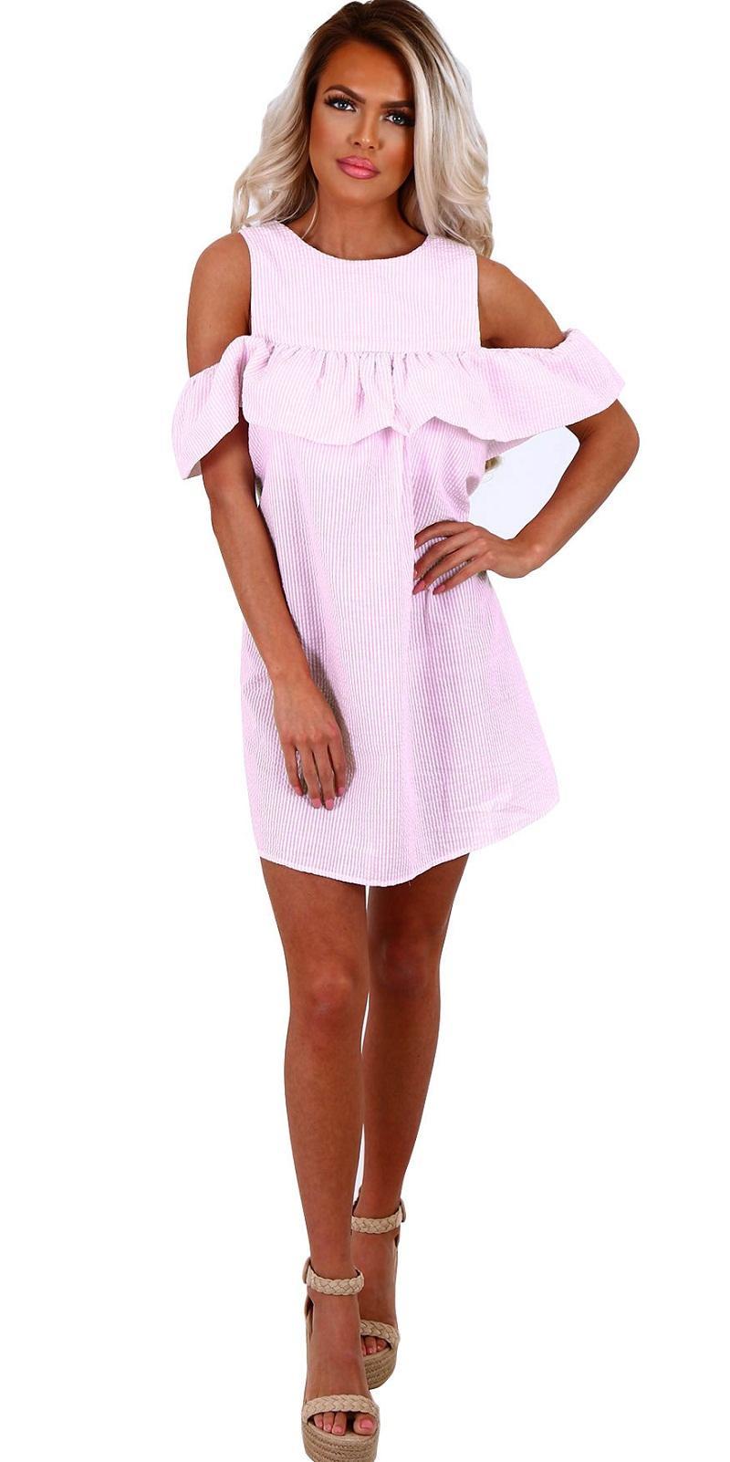 Fashion girls sexy & club dresses women striped skirts ruffled neck lady night dress short petal sleeve OL-8699
