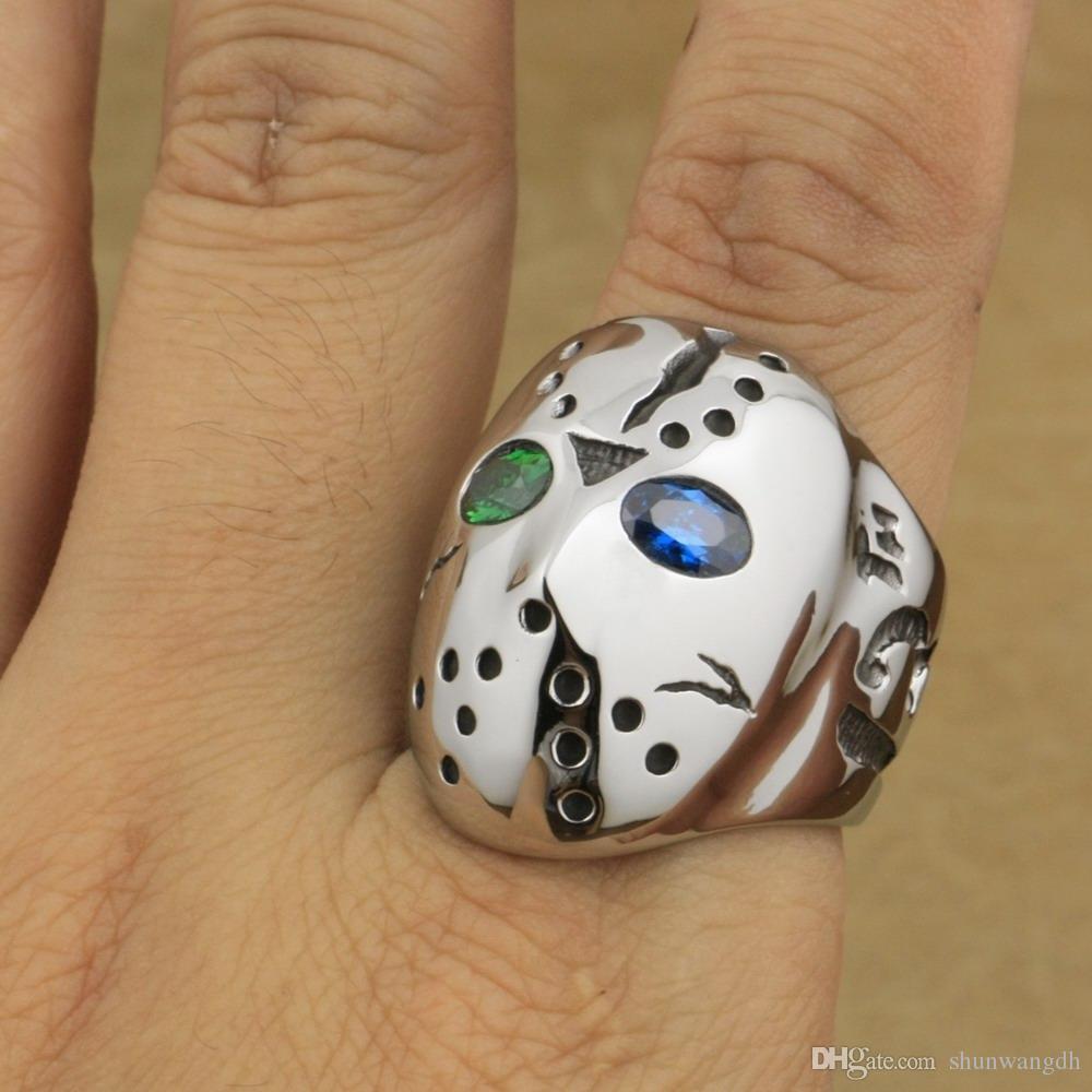 LINSION 316L Stainless Steel Halloween Jason Mask Hockey Green Blue CZ Eyes Mens Biker Rocker Punk Ring CZ Ring 3F401