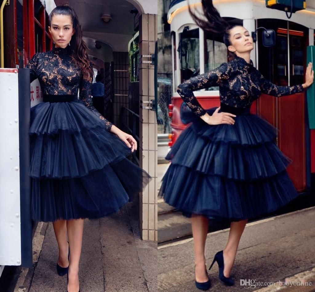 2019 Little Black Lace Arabic Gothic Short Cocktail Dresses High Neck Long Sleeves Ball Gown Tulle Tutu Knee Length Evening Prom Gowns