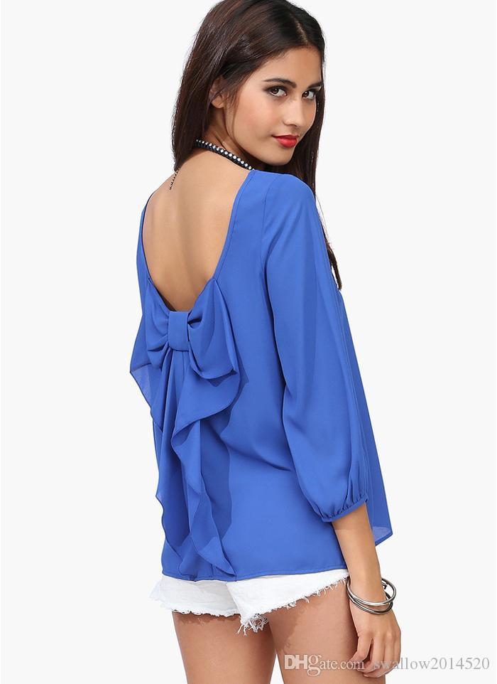 Sexy Girl Mujeres Noche Evening Backless Chiffon Shirt Cóctel Fiesta de manga larga Prom Club Wear Top Negro Amarillo Azul Rosa Naranja