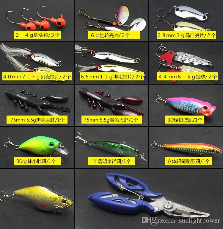 ALLBLUE Señuelo de la pesca Minnow / Popper / Wobbler Cuchara Metal Lure Cebo suave Fishing Señuelo Kit Isca Artificial Mixto Color / Estilo / Peso