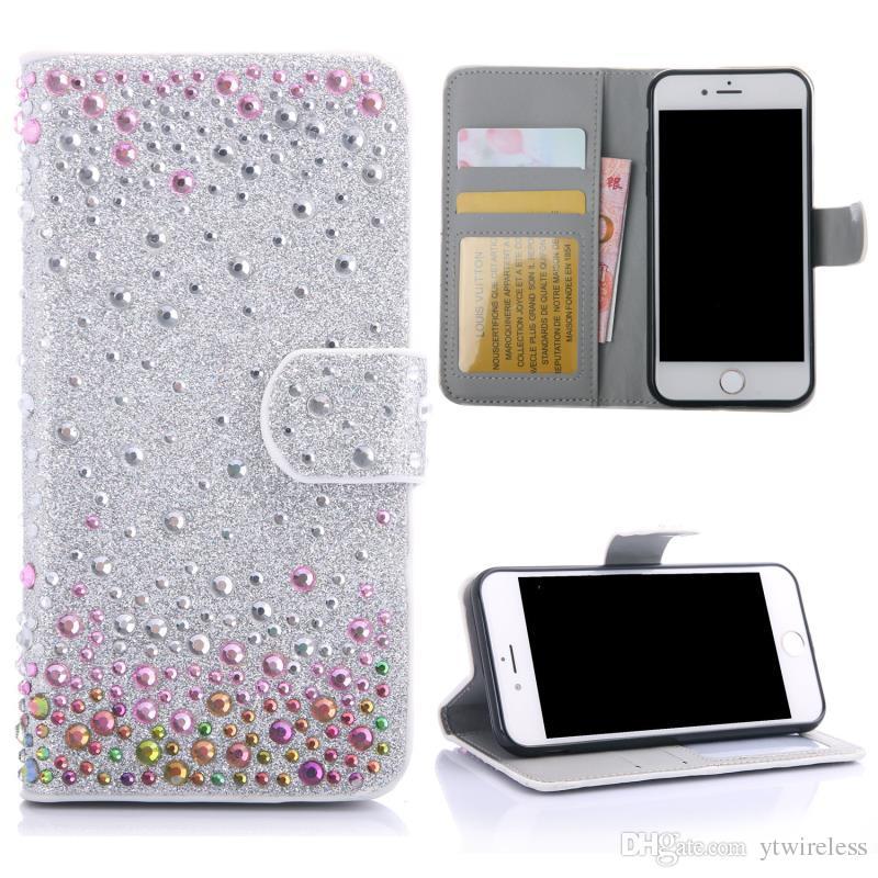 buy popular 91c41 ea36a For LG Aristo 2 X Power K210 Tribute HD LS676 Stylo 2 Plus Stylus K7 K10  V10 V20 Wholesale Rhinestone Diamond Bling Bling Wallet Case