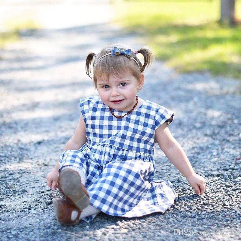 2018 Fashion Newborn Toddler Kids Baby Girls Summer Tutu Plaid Dress Cotton Clothes Party Dresses 0-3T