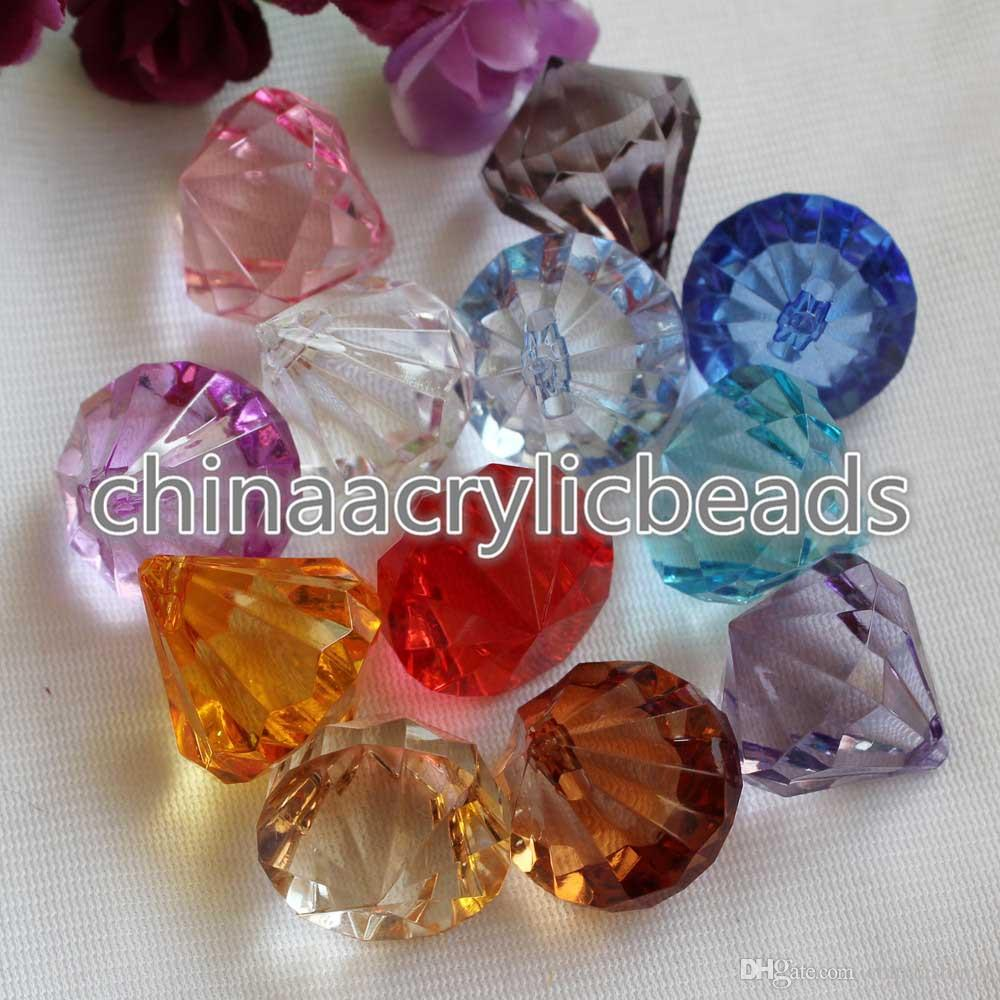 Wholesale Acrylic Crystal Faceted Drop Beads Pendants 18*20MM Plastic Diamond Chunky Beads Charms