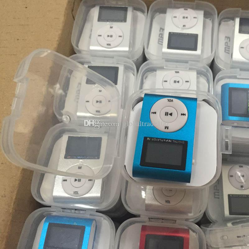Mini Clip Mp3 Player With LCD Screen & FM Radio Earphones Retail Box USB Cable Support Micro SD Card Free DHL
