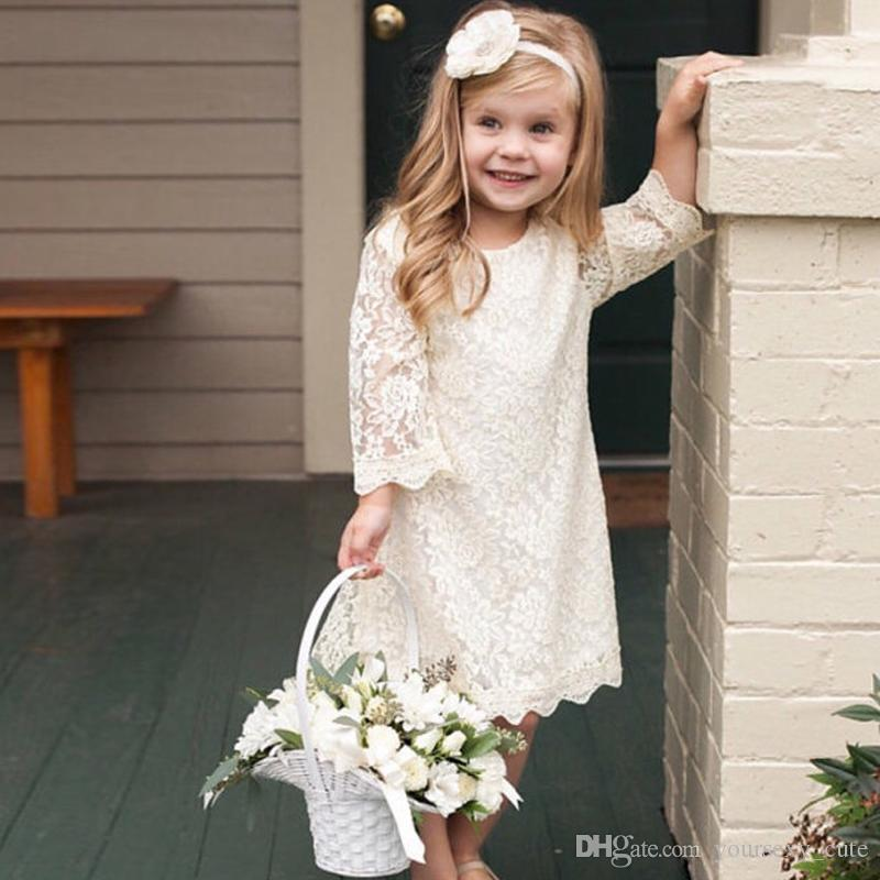 3967fa2444654 White Ivory Lace Flower Girls Dresses Long Sleeves Boho Flower Girls Dresses  Country Toddler Short Christening Baptism Dresses Ivory Chiffon Flower Girl  ...