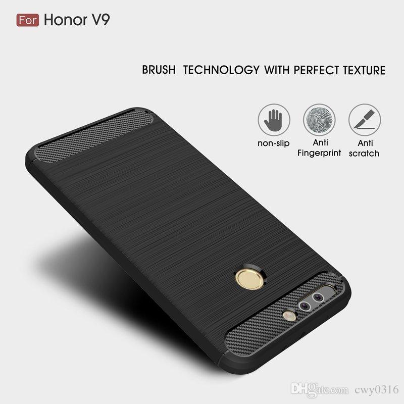 premium selection fa404 f4ab2 For Huawei V9 V 9 Soft Silicone TPU Anti Knock Carbon Fiber Slim Case For  Huawei Honor 8 Pro 8Pro Cover Coque Funda