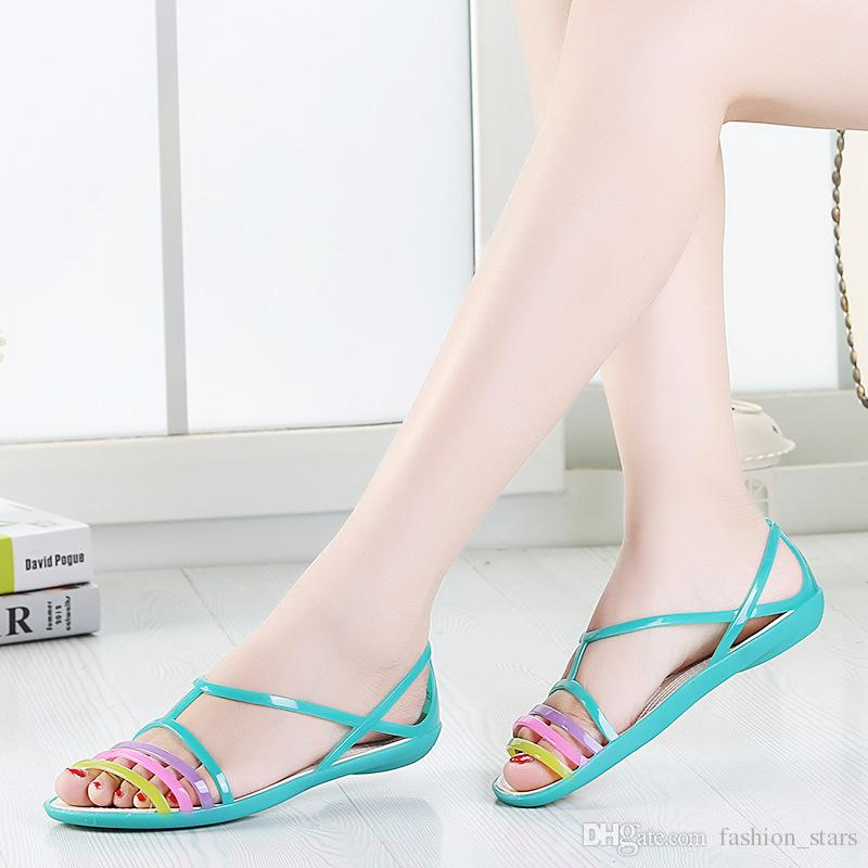 New Summer Ladies Shoes Wedding Sandals Beach Slippers Fashion Casual Transparent Flat White Silver From