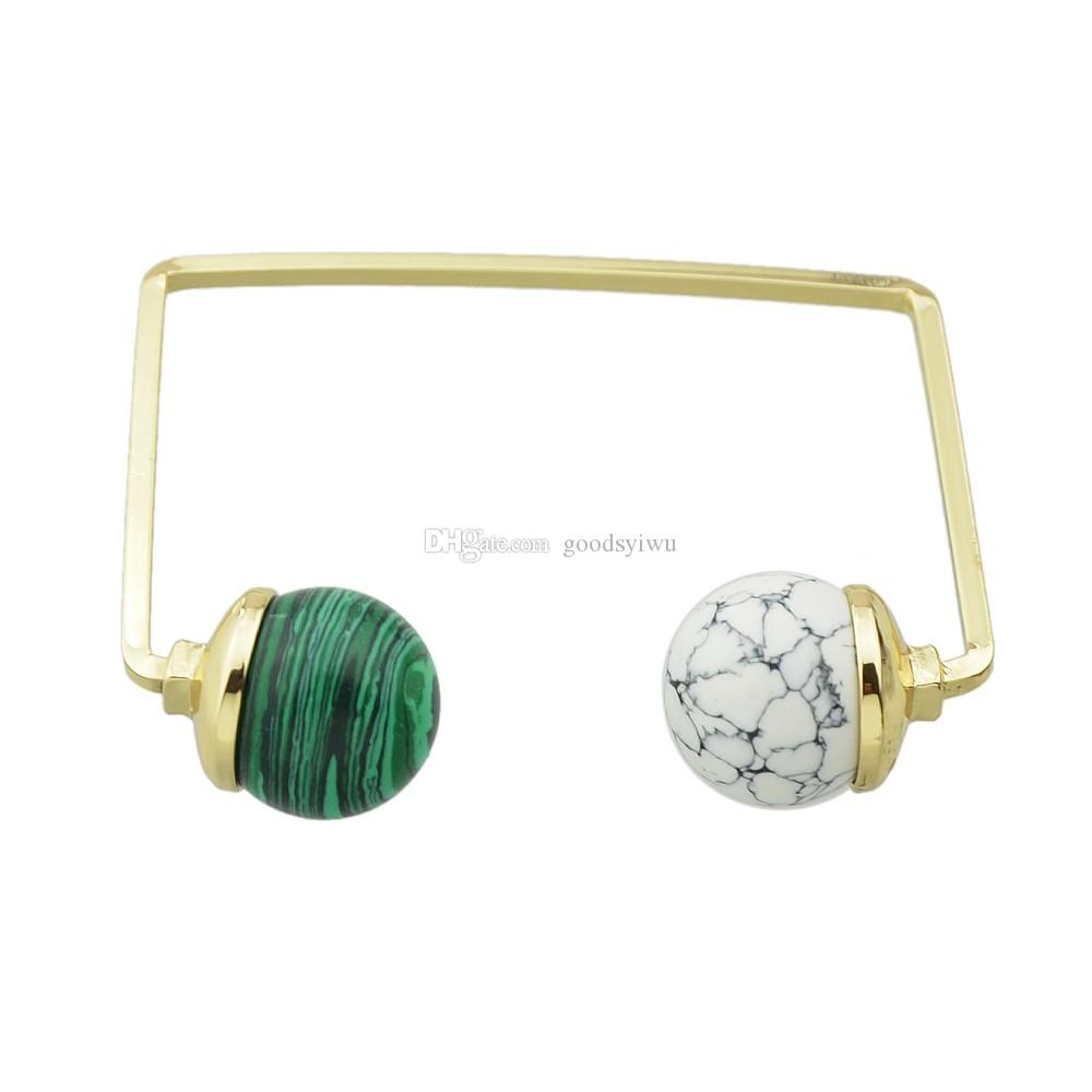 Boho Style Double Round Malachite Marble Stone Ball Bangle Geometric Square  Open Cuff Bracelets Bangles For Women Costume Jewelry