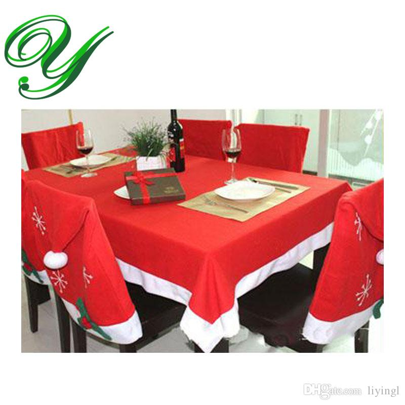 Tablecloths Chair Cover Set Christmas Decoration Red Table Cloth Square Flannel 184128cm Dining Covers Banquet Holiday Xmas Ornament White