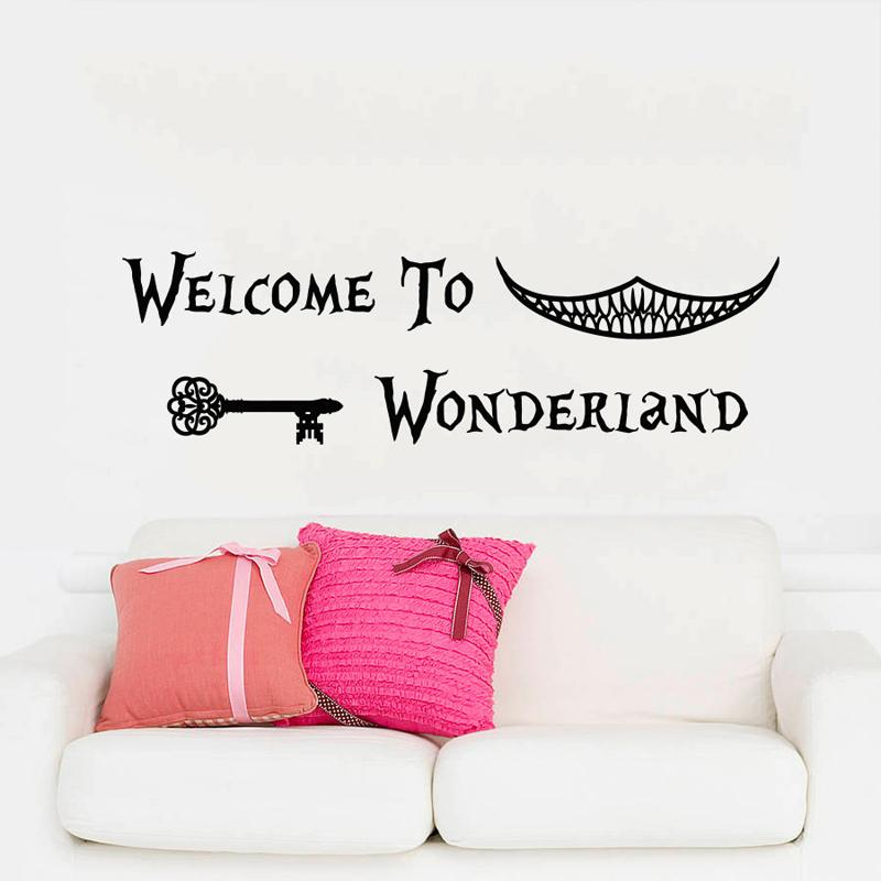 Wall Decals Quotes Alice In Wonderland Wall Decal Art Welcome To Wonderland  Sayings Rabbit Wall Vinyl Decals Nursery Home Decor Floral Wall Decals  Floral ...