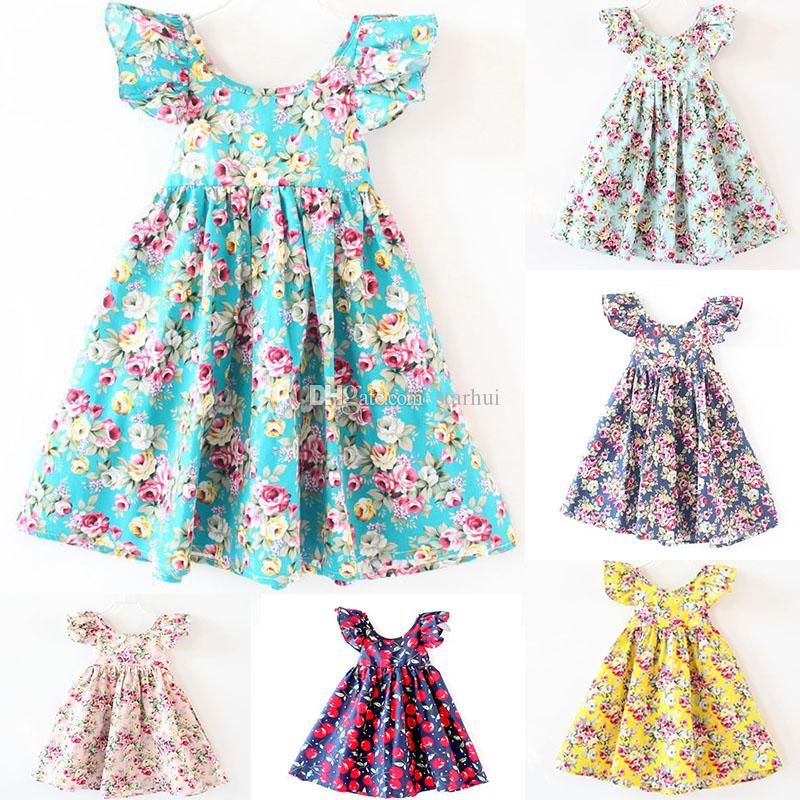 03d49885b7df1 2017 INS Girls Floral Dress Princess Pink Beach Backless Clothing Cute Kids  Baby Summer Vintage Flower Dress 12 Color Free Shipping WX-D01