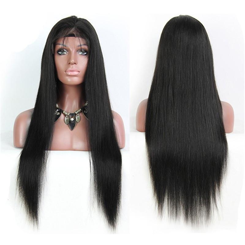 8a البرازيلي مستقيم كامل الدانتيل شعر الإنسان الباروكات للنساء السود غلويليس الدانتيل الجبهة الباروكات مع شعر الطفل