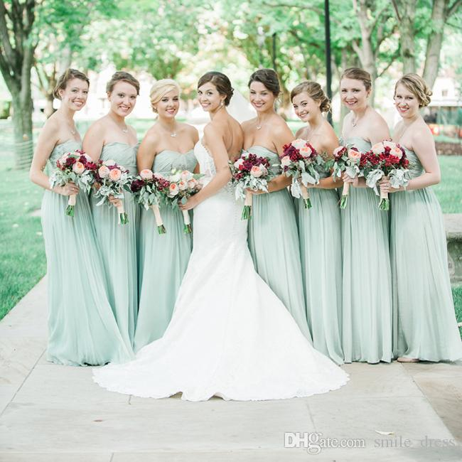 8091a2b8085 Mint Green Bridesmaid Dress A Line Sweetheart Chiffon Floor Length Long  Prom Party Gowns Custom Made Maid Of Honor Dresses SB054 Wedding Dresses  And ...