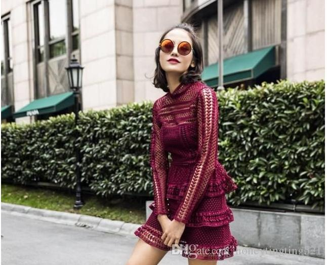 Women's 2017 new autumn design fashion sexy hollow out lace crochet stand collar long sleeve a-line short dress vestidos Wine red Black