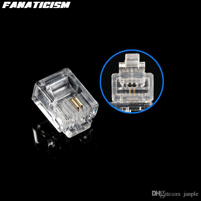 Fanaticism Top Quality RJ-11 6P2C Modular Plug Telephone Phone Connector RJ11 6 Pin 2 Contacts Crystal Head Adapter