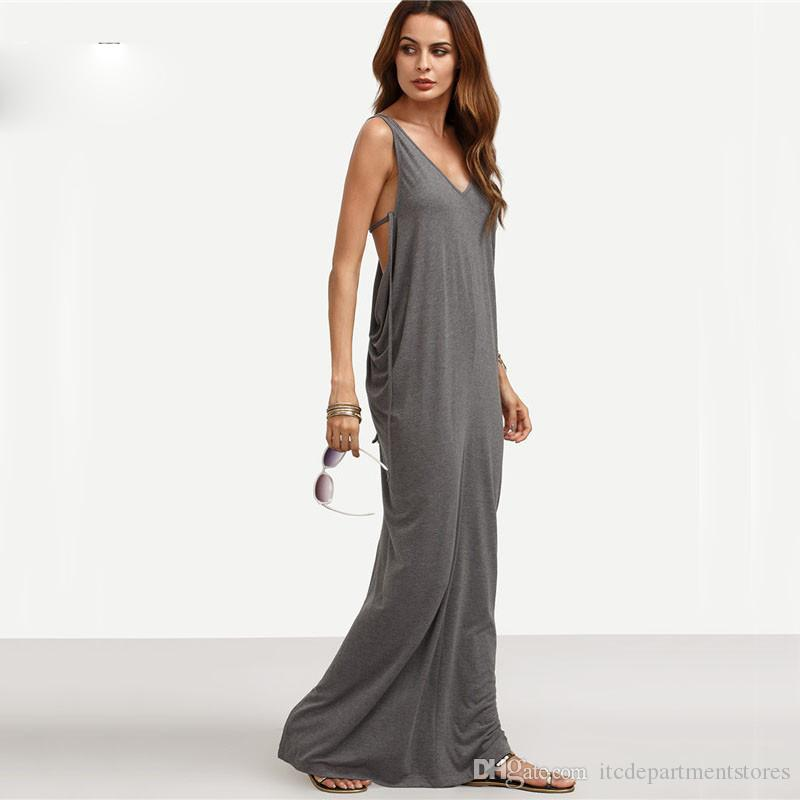 746c30b371d Womens Sexy Long Dresses Summer Ladies Plain Grey Sleeveless V Neck  Backless Cut Out Split Shift Maxi Dress Satin Dresses Dresses For Party  From ...