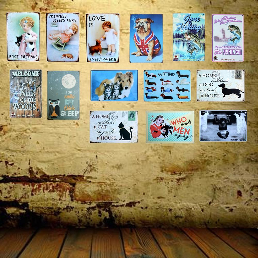 Wholesale- Mike86 A HOME WITHOUT A CAT Black Stamps Metal Signs Wall ...