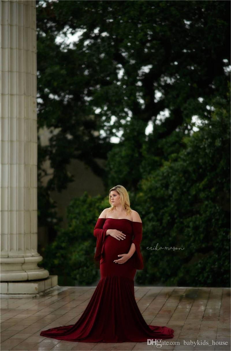 9f6c2e1e873 2019 Maternity Dress Photo Shoot Pregnancy Gown Ruffle Sleeve Maternity  Mercerized Cotton Gown Elegant Maternity Photography Props From  Babykids house