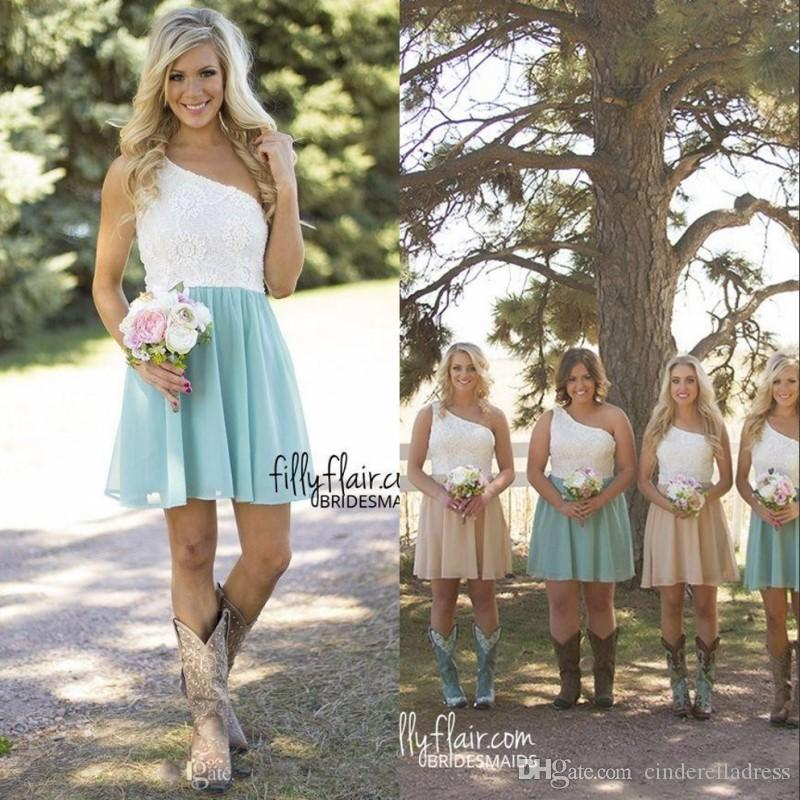 Simple Elegant Country Style Wedding Dresses With Lace: Simple Cheap Lace Bridesmaid Dresses Elegant One Shoulder