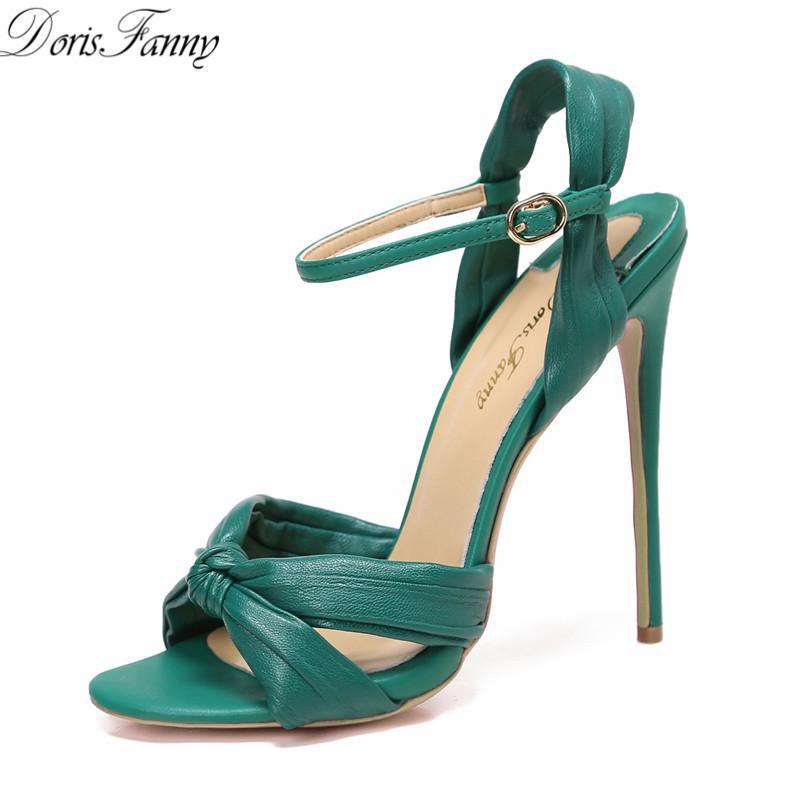 Dorisfanny Green Black High Heels Sandals Women 2017 Sexy Summer ...