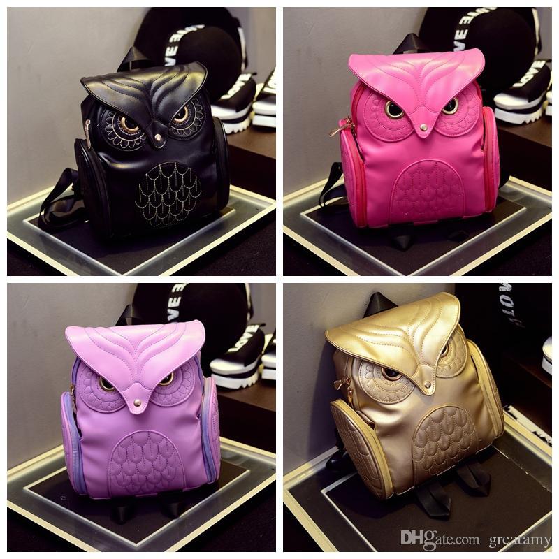 Wholesale Women Backpack Women Fashion Cool Black Pu Leather Owl ...