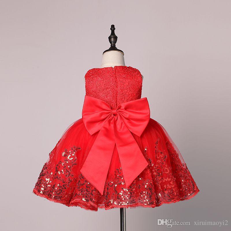 Mode formale Neugeborene Brautkleid Baby Mädchen Bogen Muster Für Kleinkind 1 Jahre Geburtstagsfeier Taufe Kleid Kleidung