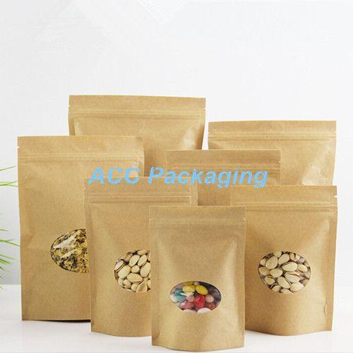 807281879 Compre 50 Pçs / Lote 5.5''x7.5 '' 14 * 19 Cm Rodada Limpar Janela Doypack  Bolsa Para Sugar Party Bag Bag Self Stand Zipper Bloqueio Saco De Papel  Kraft De ...