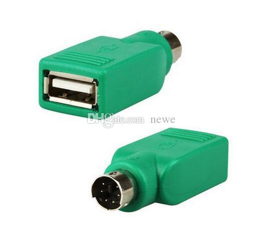 USB Universal Mouse Mice Keyboard Type A Female to PS2 PS/2 6pin mini din Male Adapter Converter Adaptor Computer Cables Green