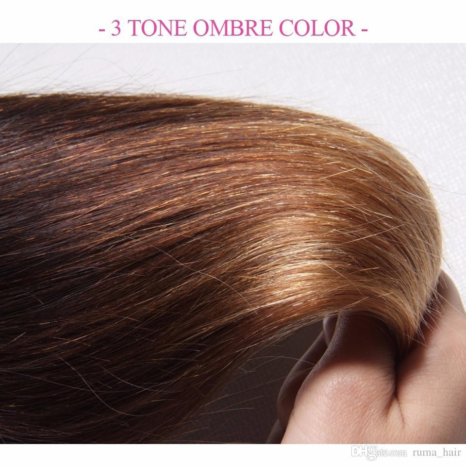 9A Cheap Peruvian Ombre Hair Straight 1B 4 27 Honey Blonde Three Tone Human Hair Weave Silky Straight Peruvian Human Hair Bundles