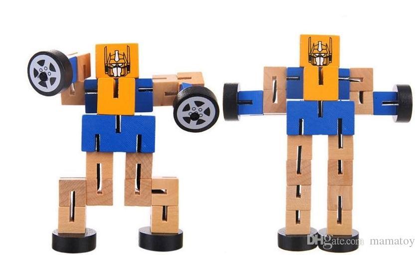 Bois Tangles avec un caoutchouc Transfomers Robot Jouets en bois Jouets éducatifs pour enfants Cadeaux pour enfants Le meilleur amour du garçon