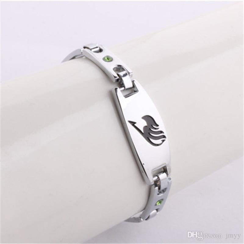 Fairy Tail bracelet Anime Alloy Bracelets Silver Plated With Green Rhinestone Charm Bracelets & Bangles Jewelry Unisex