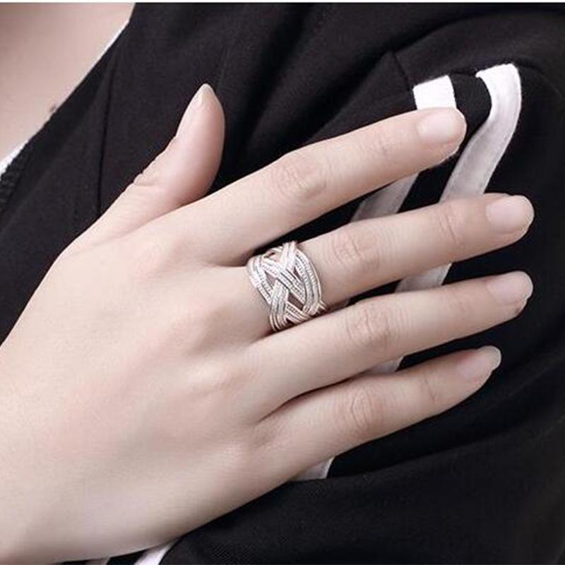 Luxury Silver Woven Mesh Shape Open Rings For Women Fashion Hand Made Knitted Ring Jewelry Adjustable Crossed Wires Interwoven Rings