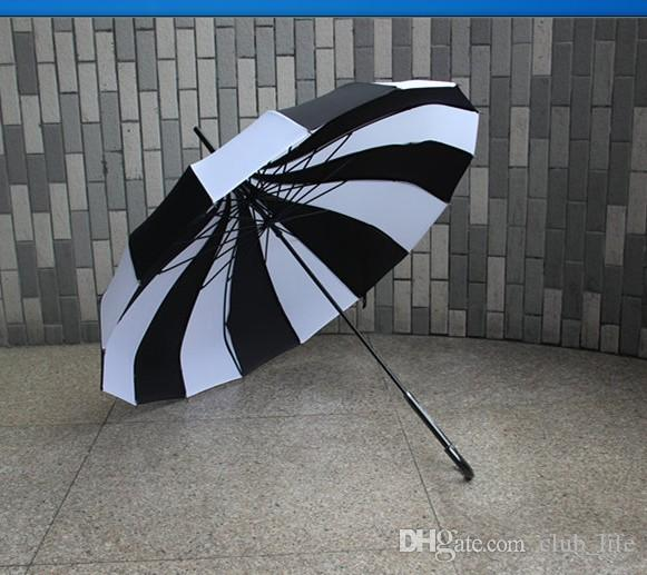 New  Creative Design Black And White Striped Golf Umbrella Long-handled Straight Pagoda Umbrella